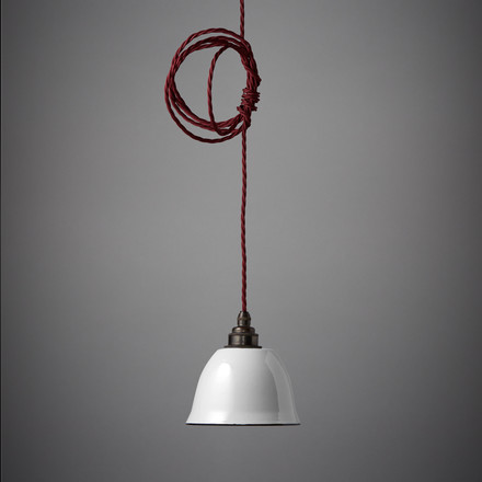 The Nook London - Miniature Bell lamp shade in white with red cable