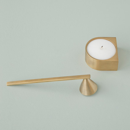 Block candle holder and brass candle extinguisher