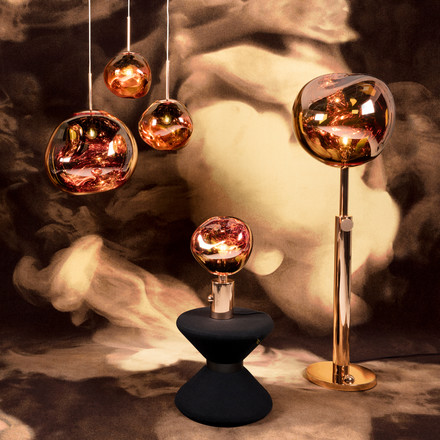 The Tom Dixon - Melt luminaires in copper - floor lamp - table lamp - pendant lamp