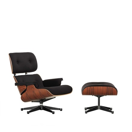 Vitra - Lounge Chair & Ottoman, Santos rosewood with felt glides, fabric Twill, black