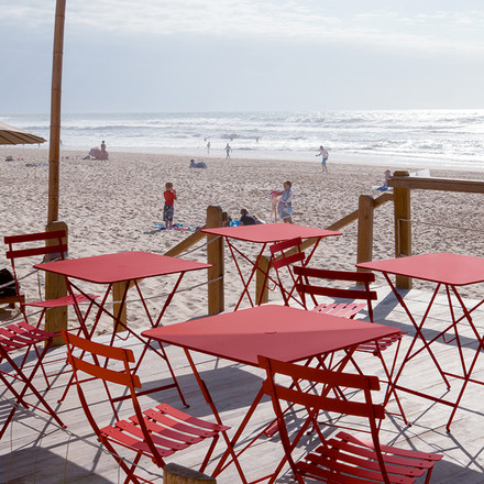 Bistro Folding Tables and Chairs in Red