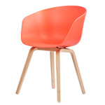 Hay - About A Chair AAC 22, four-legged frame (soaped oak wood) / coral red, felt pads