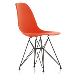 Vitra - Eames Plastic Side Chair DSR (H 43 cm), powder-coated / poppy red, felt glides (black)