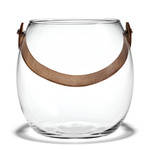 Holmegaard - Design with light glass bowl with leather strap, transparent, H: 16 cm