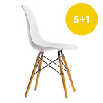 5+1 offer: Vitra - Eames Plastic Side Chair DSW, yellowish maple / white, felt glider (white)