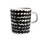 Marimekko - Oiva Räsymatto Cup with Handle, white / black, 250 ml