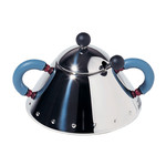 Alessi - Sugar Bowl 9097, stainless steel polished / light blue handles