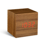 Gingko - Click Clock Cube, teak / LED red