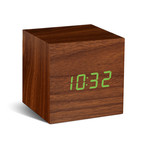 Gingko - Click Clock Cube, walnut / LED green