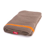 Fatboy - Klaid blanket, taupe / neon orange stripe