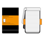Moleskine - Ruled Reporter Notebook, Large, hard cover, black
