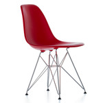 Vitra - Eames Plastic Side Chair DSR (H 43 cm), chromed / oxide red, felt pads black (hard floor)