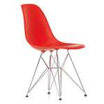 Vitra - Eames Plastic Side Chair DSR (H 43 cm), chromed / classic red, felt pads black (hard floor)
