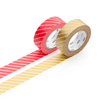 Masking tape - 2P deco series strip / red, gold (set of 2)