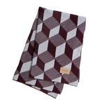 ferm Living - Knitted Blanket, squares bordeaux