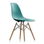 Vitra - Eames Plastic Side Chair DSW (H 43 cm), Ash honey / ocean, felt gliders white weiß (hard floor)