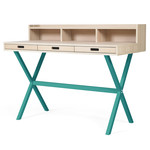 Hartô - Hyppolite Secretary Desk, oak water blue (RAL 5021)