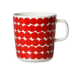 Marimekko - Oiva Räsymatto Cup with Handle, white / red, 400 ml (winter 2016)