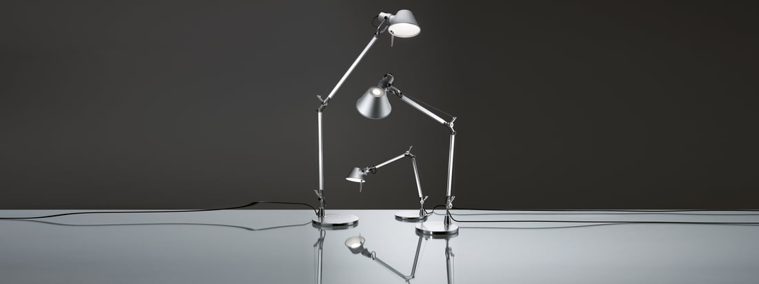 Artemide is a well-known manufacturer for lamps. The Tolomeo Lamps have a movable aluminium frame and are available in different sizes - they could be used as desk and as floor lamp.