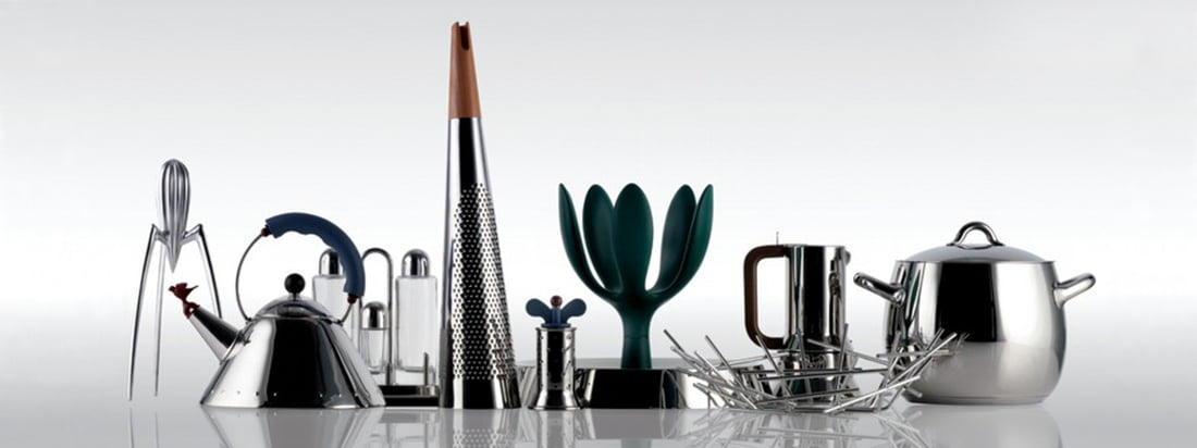Buy products from the Italian manufacturer Alessi like water boiler, pepper mill and fruit basket in the design shop. Find high quality kitchen utensils made of stainless steel.