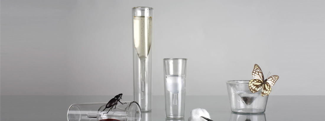 The glasses from Charles & Marie stand out from the designs of usual glasses. The InsideOut Champagne Glass and the Martini Glass are turned inside out.