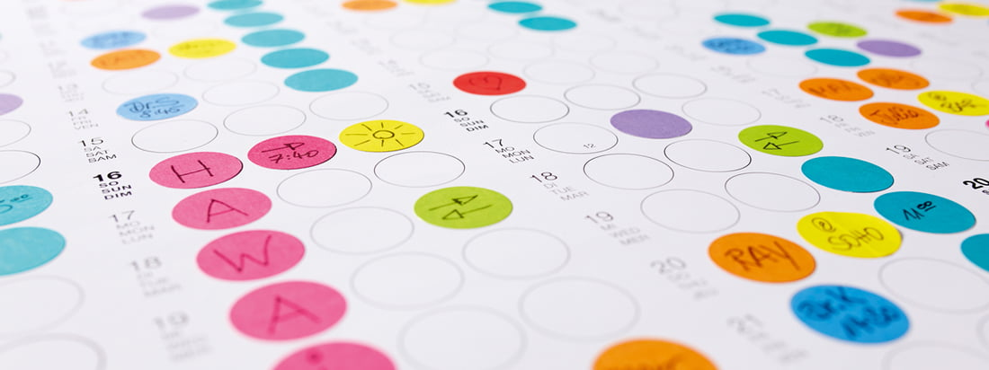 Detailed overview of the Dot on Wall Calendar from Dotty Edition: Organise your days, weeks and months with small, colourful sticky dots!