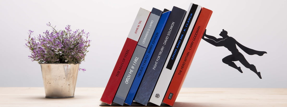 Artori Design is known for its playful, fascinating design. Apparently, the books are held up by Superman who is connected with the Book & Hero Bookend thanks to a magnet.