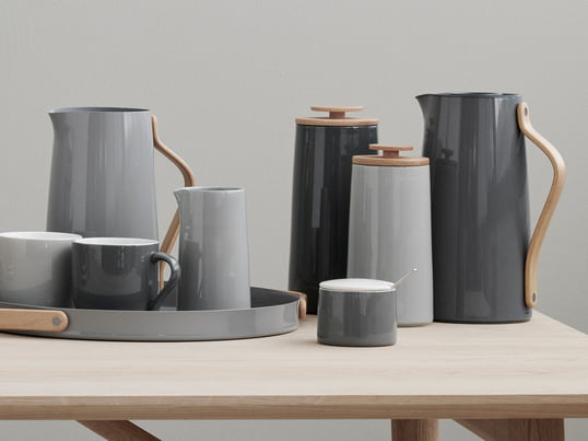 Emma is a Stelton serie for the coffee table. All the parts of the collection appear in light blue tone-in-tone nuances, acting discretely in every home.