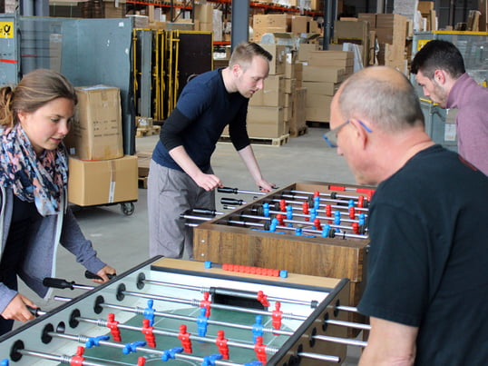The warehouse of Connox is full of life during the table soccer championships!