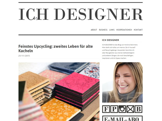 "Kristina reports on interior design, DIY and recycling design on ""Ich Designer""."