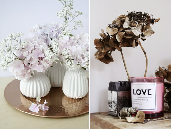 Floral arrangements of hydrangeas and dried flowers