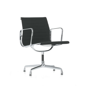 Vitra - Alu-Chair EA 108 - chrom, swiveable, with armrests, black hopsak
