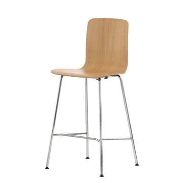 Vitra - Hal Ply Stool Medium, Light Oak, plastic glides