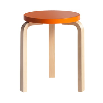 Artek - Stool 60, orane lacquered/ birch natural