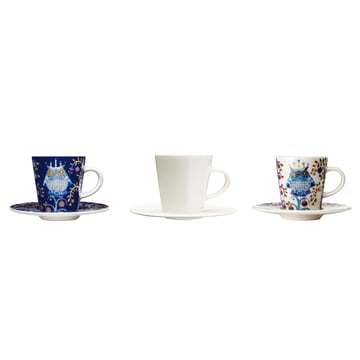 Iittala - Taika - blue - white - espresso cups with saucer