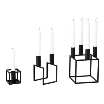 The candleholder Kubus 1, 2, 4 in black from by Lassen