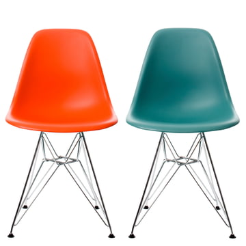 Vitra - Eames Plastic Side Chair DSR Set: ocean+red