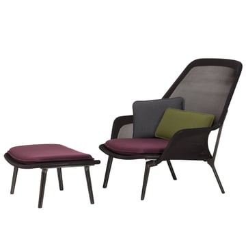 Vitra - Slow Chair & Ottoman, chocolate, brown