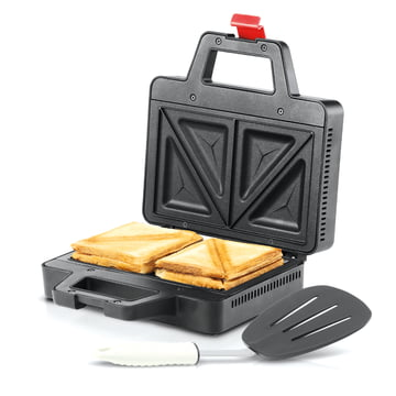 Bodum - Bistro Sandwich Toaster, black - open, with toast