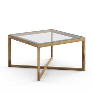 Knoll - Marc Krusin End Table, Oak, Clear Glass