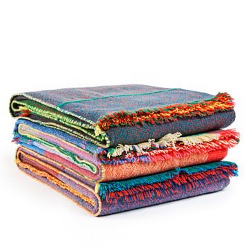 Zuzunaga - Squares Woollen Blanket - group, folded