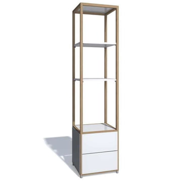 Flötotto - ADD Shelving Tower, 2 drawers, white melamine