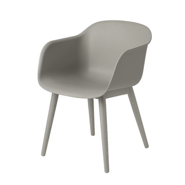 Muuto - Fiber Chair - Wood Base, grey / grey