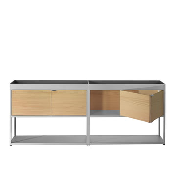 Hay - New Order Double sideboard with top tray, light grey, oak