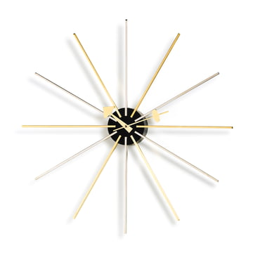 Vitra - Star Clock, chrome / brass