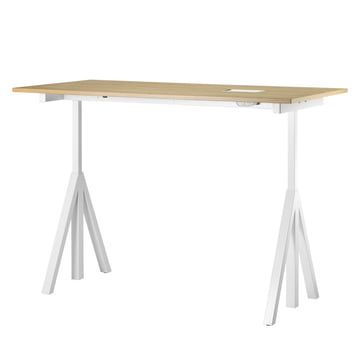 String - Works Desk, white / oak
