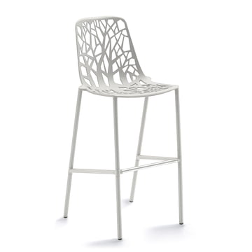 Fast - Forest bar stool high with high backrest, white