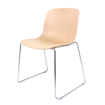 Magis - Troy Chair beech plywood, chrome-plated sled frame / natural beech wood