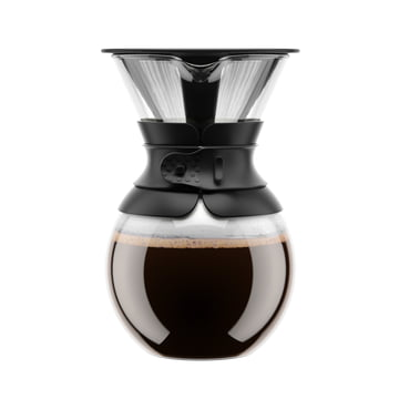 Bodum - Pour Over Coffee Maker with permanent filter, short handle, 1.0 l, black