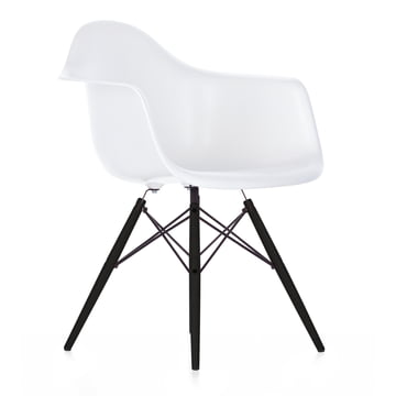 Vitra - Eames Plastic Armchair DAW, black maple / white, felt glides black